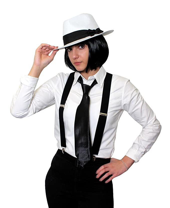 LADIES GANGSTER KIT BOB WIG TRILBY HAT BRACES TIE 1920/'S FANCY DRESS COSTUME SET