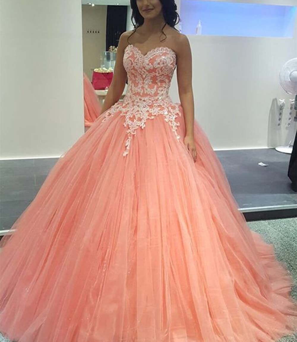 Princess Quinceanera Ball Gown Quinceanera Dresses Coral Vestidos 2017 at Amazon Womens Clothing store: