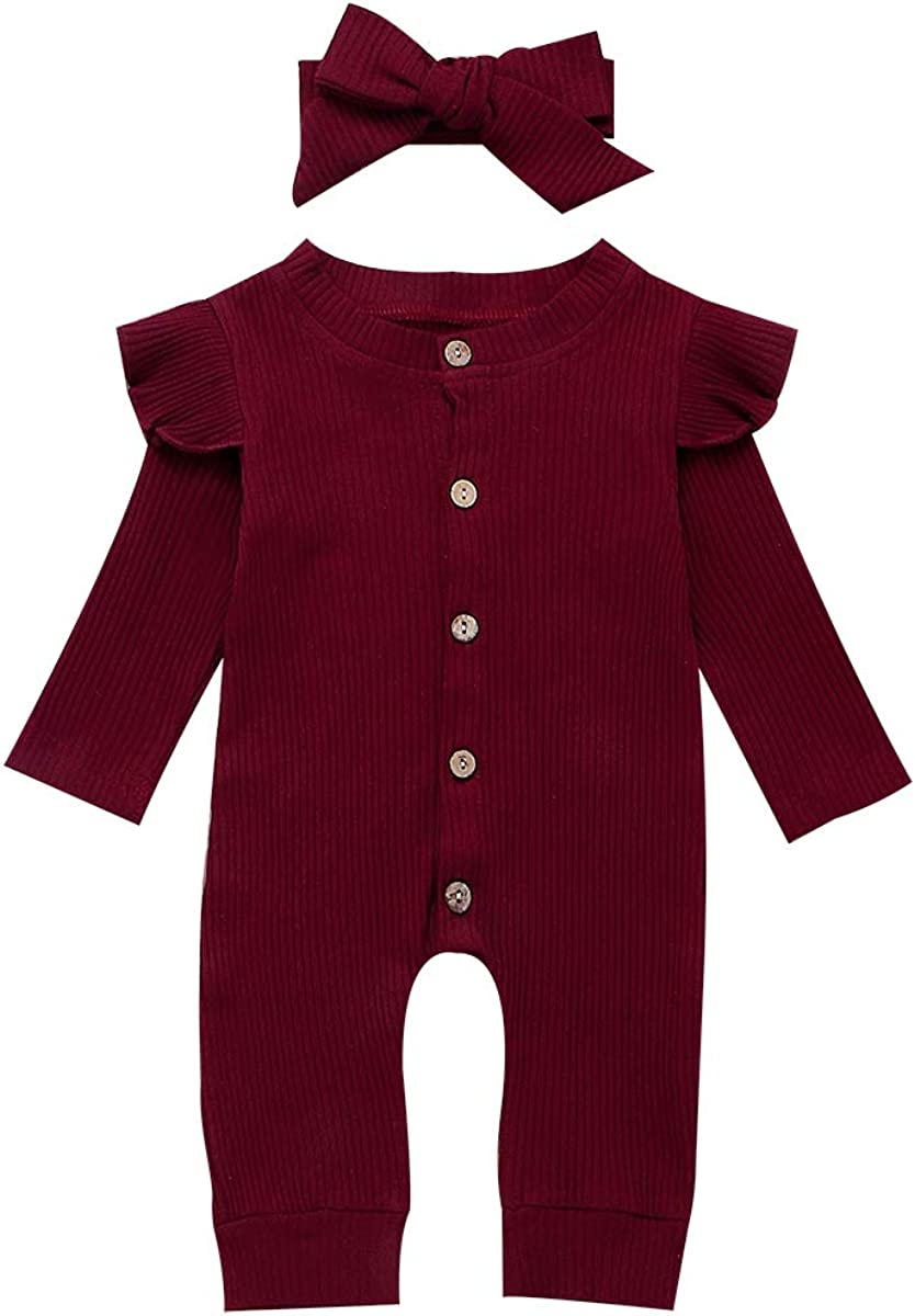 ASashitenel Newborn Kids Baby Girls Solid Color Long Sleeve Knitted Romper Jumpsuit Bodysuit + Headband