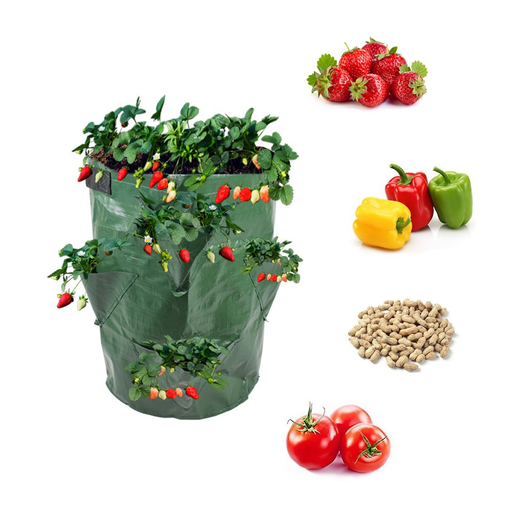 BohoFarm Strawberry Planter Pot Planting Bag Growing Tower Grow Bags Green 2-Pack Hydro by BohoFarm