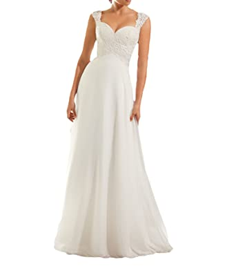 Vweil Empire Cap Sleeve Vestidos de novia Keyhole Back Chiffon Lace Bridal Wedding Dresses VD68