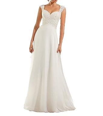 Vweil Empire Cap Sleeve Vestidos de novia Keyhole Back Chiffon Lace Bridal Wedding Dresses VD68
