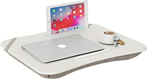 HOME BI Portable Lap Desk Laptop Table Tray Bed Table with Handle, Phone Holder, Built-in Laptop Stop Bar, Pillow Foam Cushion,18.5L x 14.96W x 2.17H Inch, White