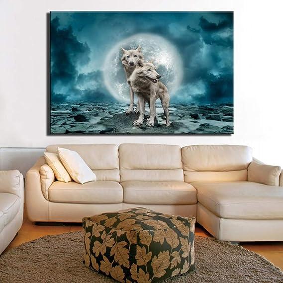 Noche Bloque Paisaje Lienzo Pintura impresión Digital Lienzo Arte Imagen en la Lluvia Pintura al óleo hogar decoración de la Pared Regalo (sin Marco) A4 20x30 cm: Amazon.es: Hogar