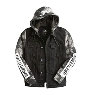 fe2d1a4ee4c8 Hollister Stretch Hooded Black Denim Graphic Jacket Small at Amazon ...