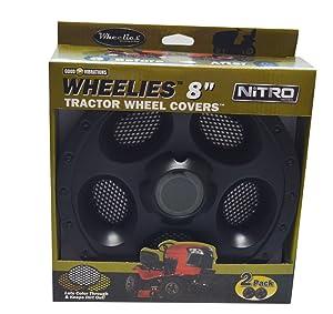 Good Vibrations Wheelies Nitro Series - Riding Lawn Mower Tractor & Golf Cart Wheel Covers - Snap Fit to the Rim - 8 inch Diameter (Black) / 2pk