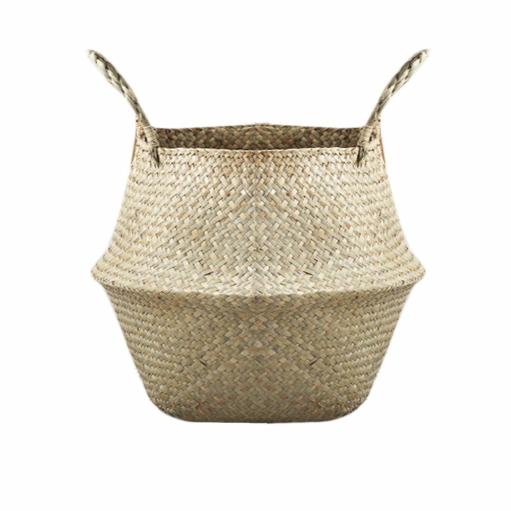Autumn Water Foldable Natural Seagrass Woven Storage Pot Garden Flower Vase Hanging Basket With Handle Storage Bellied Basket