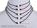 Single White Pearl Choker Necklace On Black Leather Cord for Women Handmade, 16""