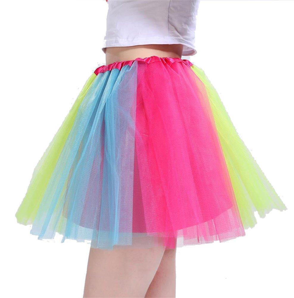 AMORETU Womens Short Tulle Skirt 3 Layers Star Sequin Sparkling Ballet Tutu UKAM3311MUS