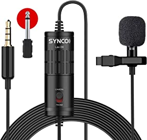 [Official] SYNCO Lav-S6 Clip-on Lavalier Microphone Omnidirectional Condenser Mic 19.7-feet/6-m 360° Pickup for Cameras/Phones/Camcorders/Audio/Recorders/Mixers/Laptops/PC