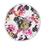 KESS InHouse Victoria Krupp Deeply in Love Magenta White Floral Fantasy Digital Illustration Round Beach Towel Blanket