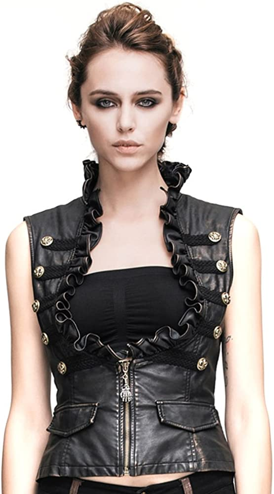 Steampunk Women Leather Vests Waistcoats Sleeveless Gothic Rock Motorcycle Vest Tops