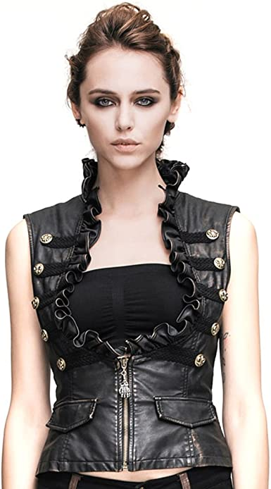 Steampunk Women Leather Vests Waistcoats Sleeveless Gothic Rock Motorcycle  Vest Tops at Amazon Women's Clothing store
