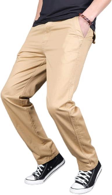 Pantalones Chinos para Hombre, Pierna Recta, Frente Plano ...