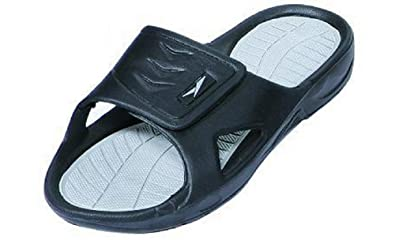 42ba54337 New Men's Rubber Slide Sandal Velcro Strap in Black Beach Shower Black 10
