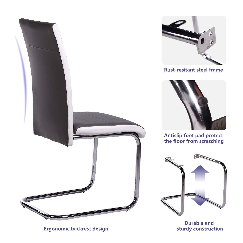 Juego de 4 sillas de comedor de cocina, color gris y blanco, patas de metal cromado, resistentes, para oficina, salón, comedor, cocina, jardín Grey+white ...