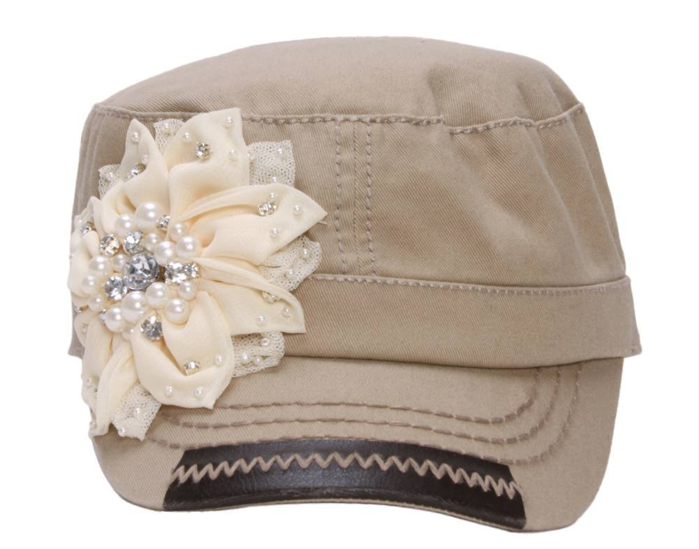 Peter Grimm Womens Cade Cap w/Flower - Small/Medium Khaki