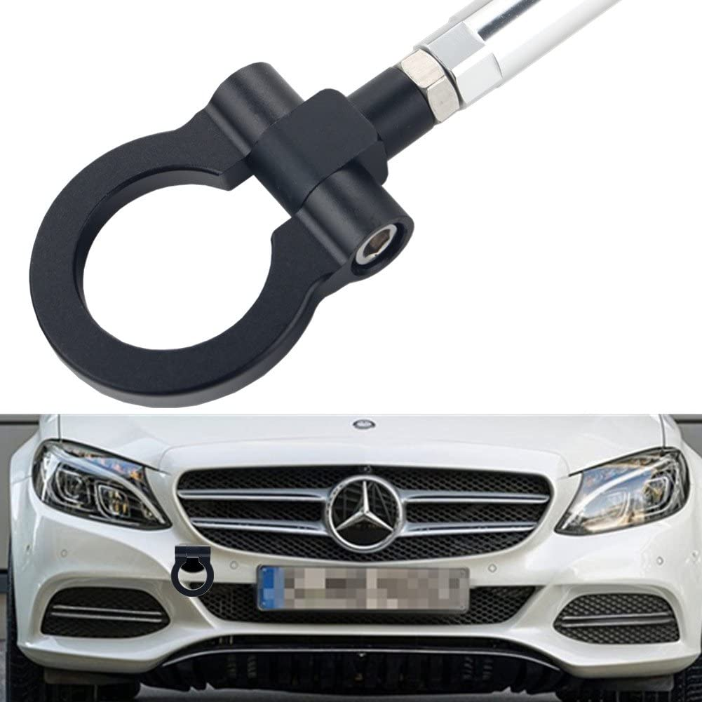 Red DEWHEL Front Bumper Eye Towing Tow Hook Bolt on No Drill Relocator Hole for Mercedes W204 C-Class W212 E-Class C117 CLA-Class W221 S-Class W166 ML X204 GLK