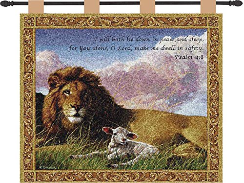 Manual Inspirational Collection 26 X 36-Inch Wall Hanging and Finial Rod, Lion and Lamb with Verse (Lamb Lies)