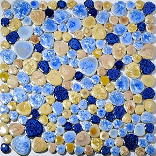 TST Mosaic Tiles Porcelain Pebbles Art Fambe Mosaic Blue Beige Glazed Pebble Tile Bath Floor Swimming Pool (Swimming Pool Glass Tile)