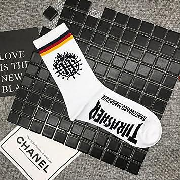 Wanglele Calcetines de algodón puro Hip Hop letras tubo largo calcetines sudor transpirable absorbente desodorante anti