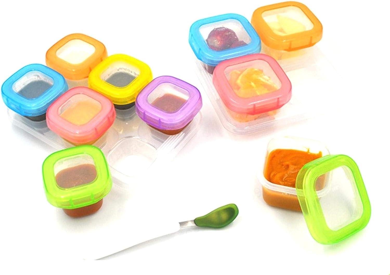 DULALA Almacenamiento de Alimentos 6 Piezas Colores Mezclados Beb/é destete Cubos de congelaci/ón de Alimentos Bandejas con congelador con Tapa Clip-on Contenedores de Almacenamiento Sin BPA 60 ml