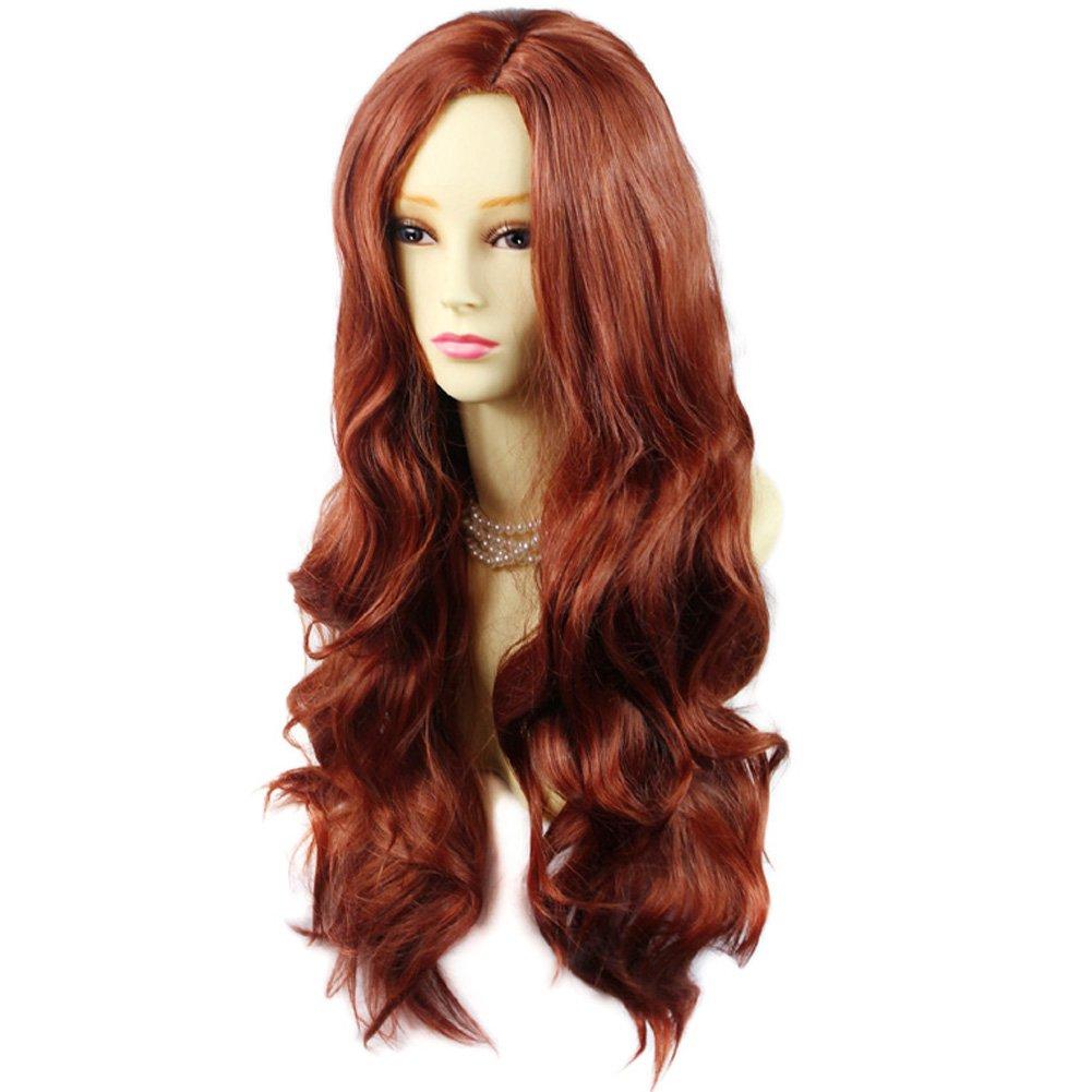 Peluca sexy de capas largas onduladas para mujer, color rojo cobre ...