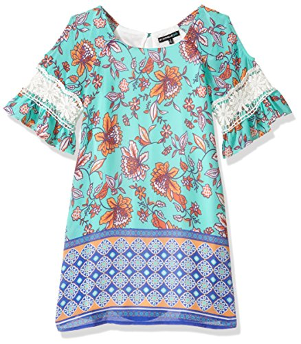 My Michelle Girls' Big Shift Dress with Crochet Trim, Mint Multi, 12