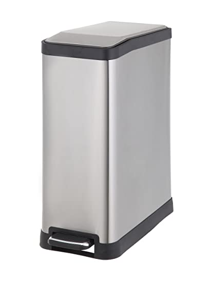 Home Zone VA41311A Rectangular Step Stainless Steel Trash Can Bin (1 Pack),  12