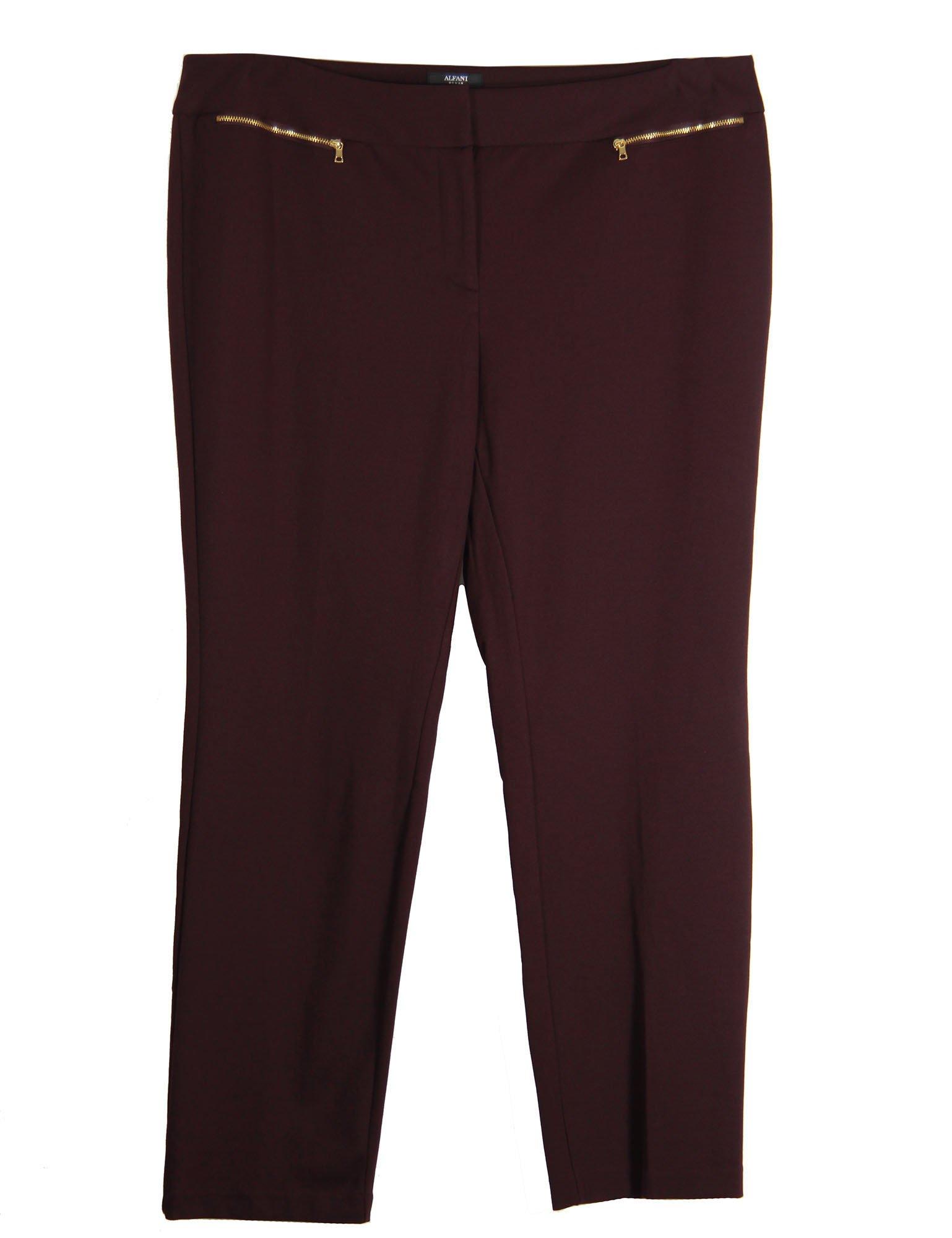 Alfani Women's Plus Tummy Control Zipper Detail Pants 24w New Wine