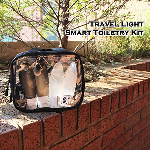 TSA approved Toiletry Bag Squeezable Silicone Travel Bottles Set | Clear Leak Proof Refillable Containers for Liquids (BPA Free, 3.3 OZ) | Toothbrush covers with Hanging Strap | Quart Sized Air Carry- by Simpletraveler (Image #1)