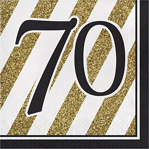 Black and Gold 70th Birthday Napkins, 48 ct