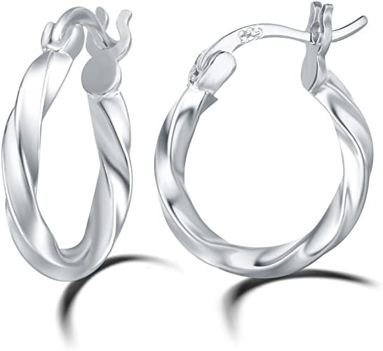 Sterling Silver Rhodium Finish Shiny Twisted Cable  Round Hoop Earrings