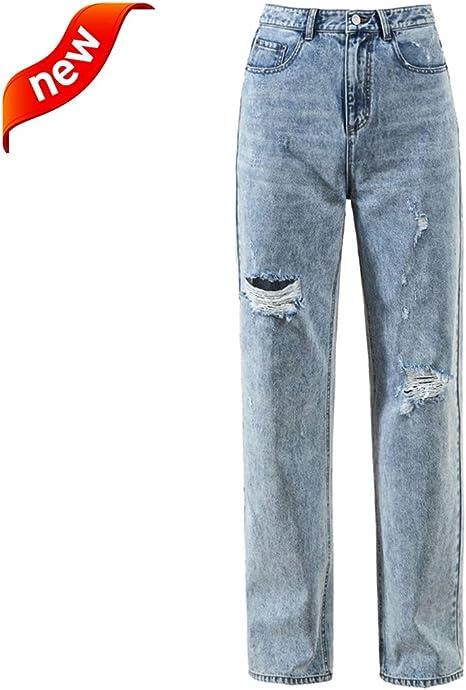 Mujeres Jeans Pantalones De Mezclilla Para Mujer Agujero De Las Mujeres Jeans De Cintura Alta Leggings De Moda Para Ninas Pantalones Rectos Anchos Ropa De Mujer Holgados Delgados Pantalones Casuales Amazon Com Mx Hogar