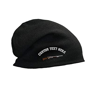 c87140a6d6b Custom Text Embroidered Pump Shotgun Unisex Adult Cotton Acrylic Slouch  Beanie Skully Hat - Black