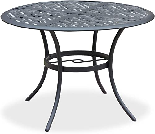 Romayard 42. 1 x 42. 1 x28. 3 Outdoor Dining Table Round Patio Bistro Table Powder-Coated Steel Frame Top Patio Dining Table Outdoor Furniture Garden Table with 2.1 Umbrella Hole Black
