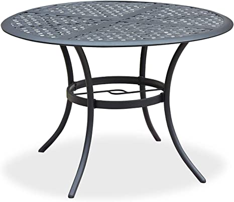 Amazon Com Romayard 42 Inch Outdoor Dining Table Round Patio Bistro Table Powder Coated Steel Frame Top Patio Dining Table Outdoor Furniture Garden Table With 2 1 Umbrella Hole Black Kitchen Dining