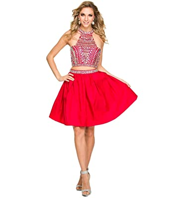 e783f99d8bd Wishopping Women's Short 2 Pieces High Neck Prom Gown Homecoming Dress  WH163 Red Size 2