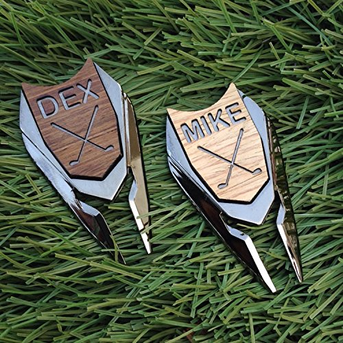 WOODULIKE Personalized Magnetic Wood Golf Ball Marker & Divot Tool, Divot Repair Tool, Divot Tool Remover