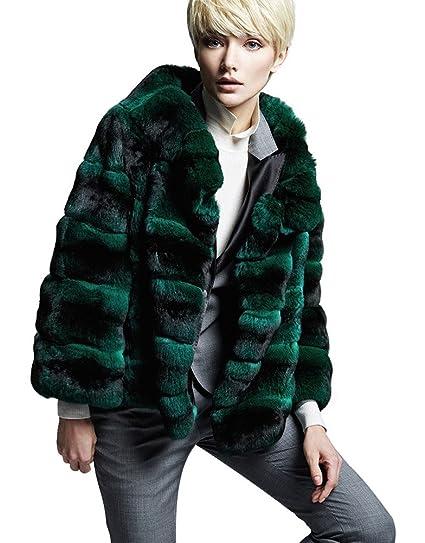 cb58337ef Green Chinchilla Fur Coat Women's Handmade Genuine Chinchilla Skins mexa  (x-small)