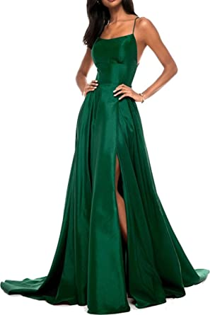 Ladsen 2018 Sexy Cross-Back Stain Slit Prom Dresses Green US12 Size