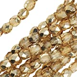 3 mm fire polished crystals - Czech Fire Polished Glass Beads 3mm Round Crystal Gold (50)