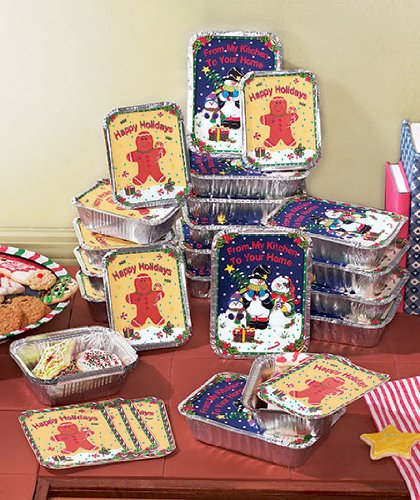 Set of 24 Holiday Goodie Containers. Aluminum Boxes Are Ideal for Your Homemade Cookies and Candies.