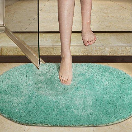 Shag Bathroom Rug, Seavish Non Slip Microfiber Soft Absorbent Shower Mats Washable Oval Bath Rug Runner Floor Door Carpet 21x34 inches, Duck (Duck Egg Cushions)