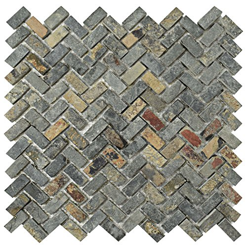 SomerTile SCRHRSS Cliff Herringbone Sunset Slate Natural Stone Mosaic Floor and Wall Tile, 12