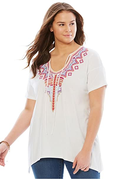 47b3ef3836e Woman Within Plus Size Short Sleeve Embroidered Peasant Tee at Amazon  Women s Clothing store