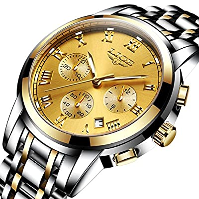 Mens Sport Watches Chronograph Analog Quartz Wrist Watch Date Stainless Steel Band