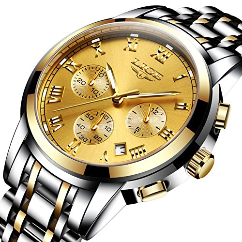 Luxury Men's Quartz Analog Watch Stainless Steel Strap with Date Chronograph Gold Face