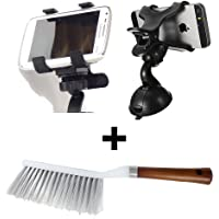 Autowizard Double Clamp Mobile Holder and Wooden Handle Car Cleaning Brush