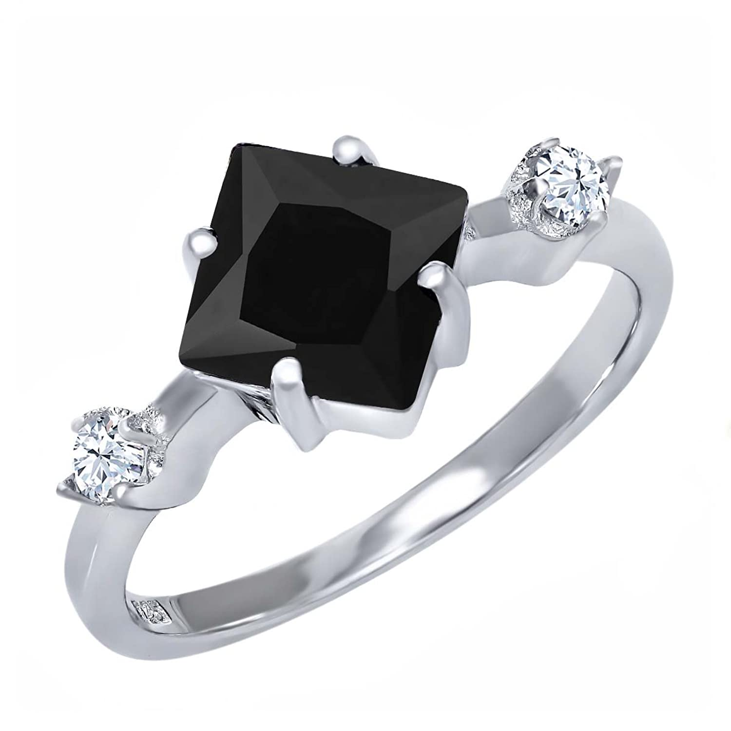 1.60 Ct Princess Cut Natural Black Onyx 925 Sterling Silver Ring Sizes 5 to 9
